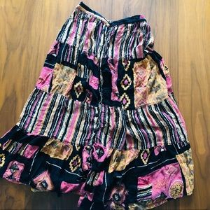 Button Front Vintage Black, Pink, Yellow Skirt